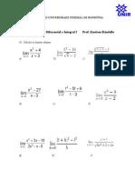 Lista de Exercicio de Calculo I Limites