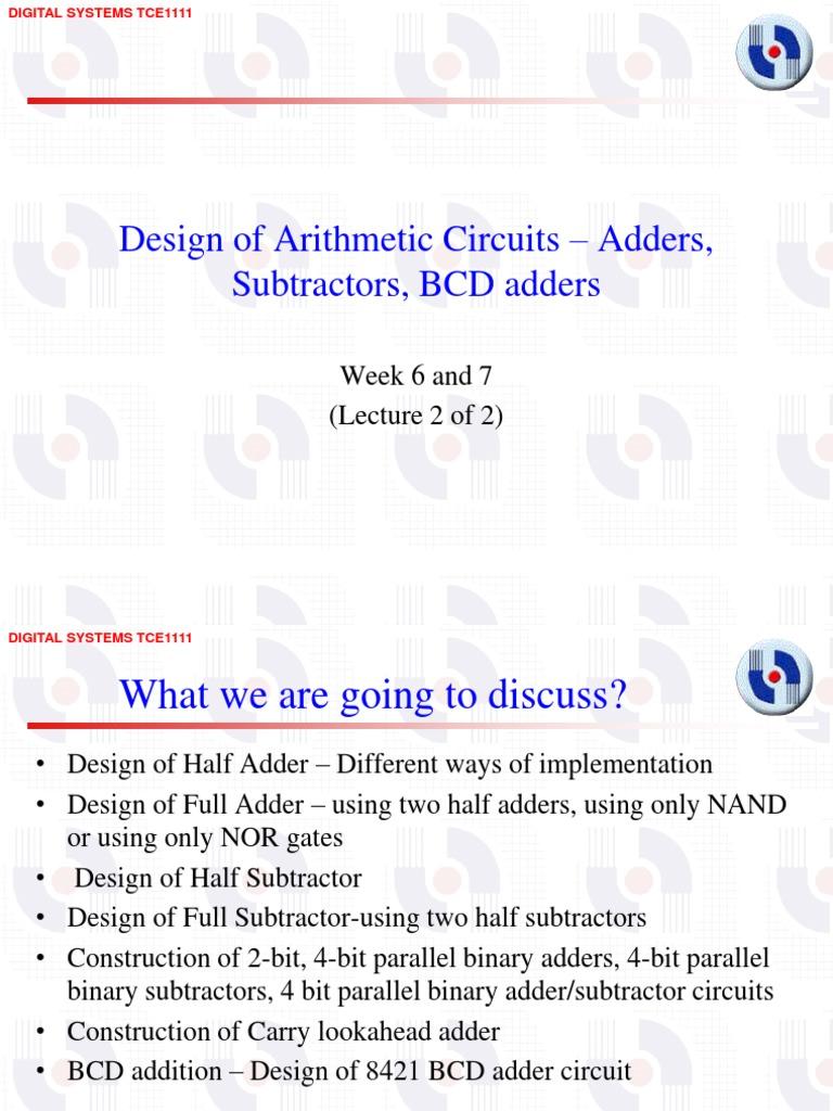 Design Of Adderssubtractors Bcd Adders Week6 And 7 Lecture 2 Logic Diagram 4 Bit Adder Subtraction Digital Electronics
