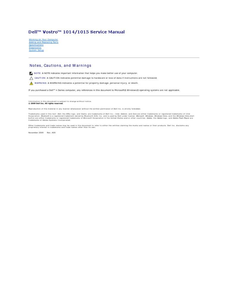 vostro 1015 service manual 2 booting bios rh es scribd com Keyboard Dell Vostro 1015 dell vostro 1014 service manual pdf