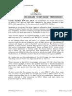 Zambia Treasury Brief on January to May Budget Performance
