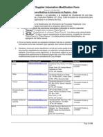 Supplier Registration Modification Form Spanish
