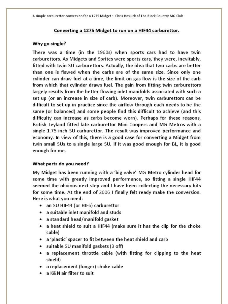 Honda Gx340 Manual Carburetor Ebook Com Mariachilatemodeldodgedensoalternatorwiringdiagram Wiring Schematic Em6500sx Array A Simple Carburettor Conversion For 1275 Midget New Rh Scribd