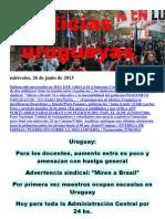 Noticias Uruguayas miércoles 26 de junio del 2013