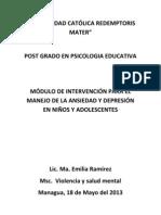 Módulo de intervención para el manejo de la Ansiedad y depresión en Niños y Adolescenes