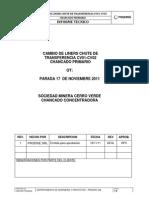Informe Cambio de Liners Chute de Transferencia CV001-CV002 - 17 Nov 2011