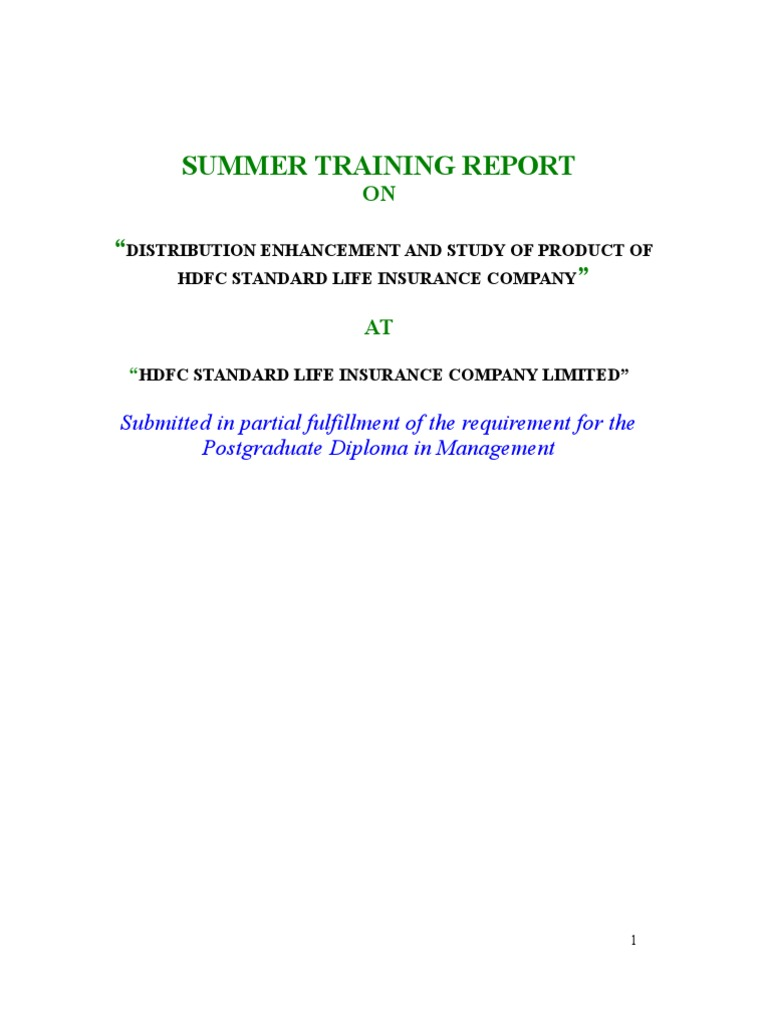 HDFC summer training project | Insurance | Investing