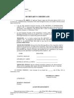 Secretary's Certificate Opening Acct Efps