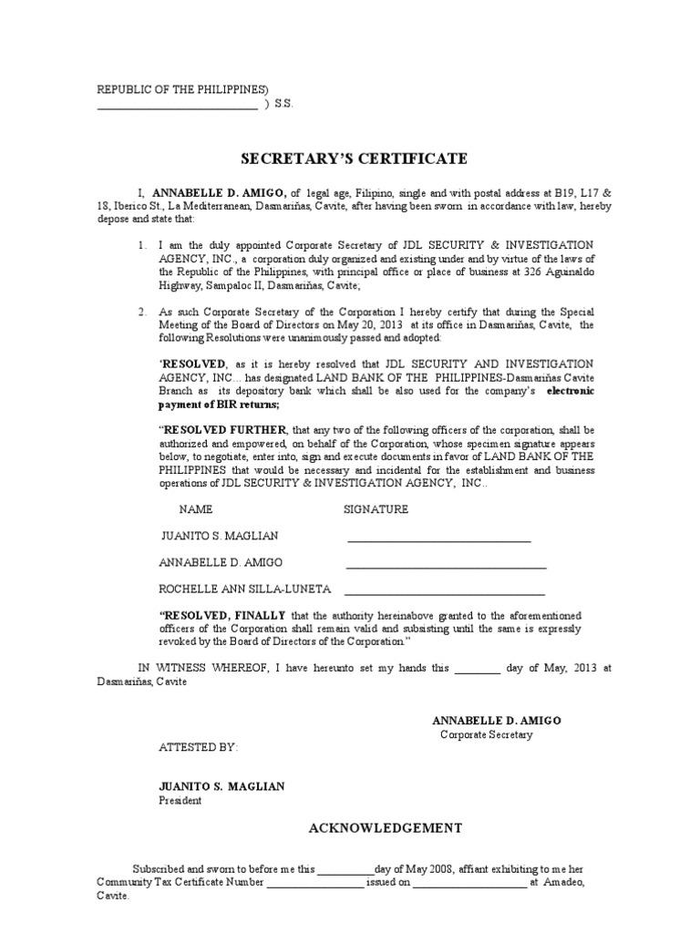 Secretary S Certificate Opening Acct Efps