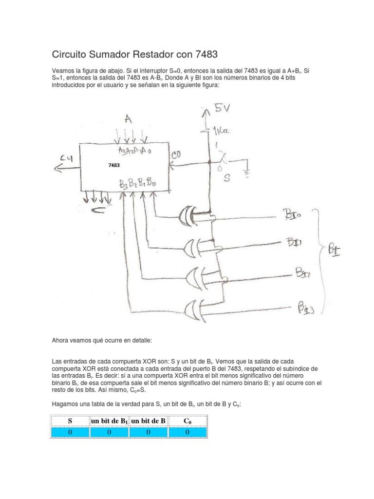 Circuito Xor : Circuito sumador restador con 7483