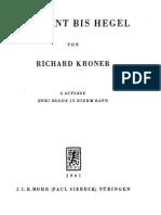 KRONER Von Kant BisHegel 1 UND 2