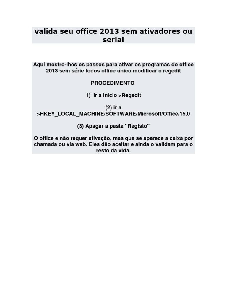 baixar office 2013 + ativador em portugues