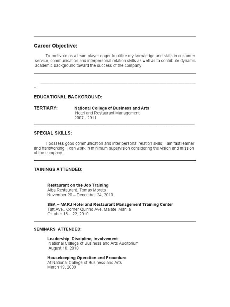 Resume Hrm  Job Skills On Resume