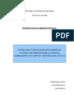 """Mémoire d'expertise-comptable intitulé """"EXTRACTION ET EXPLOITATION DES DONNEES DU SYSTEME D'INFORMATION DANS LE CADRE DU COMMISSARIAT AUX COMPTES"""