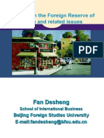 A Study on the Foreign Reserve of China Desheng Fan Guest Speaker