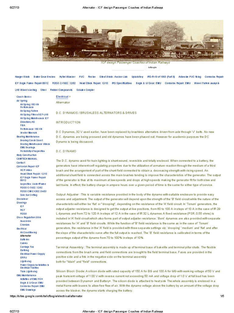 Alternator - ICF Design Passenger Coaches of Indian Railways | Rectifier |  Diode