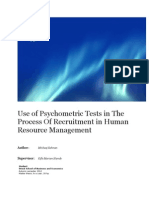 Use of Psychometric Tests in the Process of Recruitment in Human Resource Management Docx