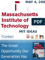 MIT IDEAS Social Entrepreneurship Competition, Ryan Allis, The Great Opportunity of Our Generation, May 2009