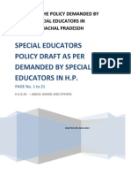 Policy for Special Educators in Himachal Pradesh Drafted by Vijay Heer