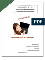 Analisis Critico Calidad Educ. en E-learning
