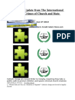 Mid Summer Update From the International Tribunal Into Crimes of Church and State (ITCCS)
