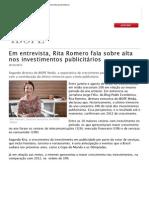 Em entrevista, Rita Romero fala sobre alta nos investimentos publicitários