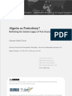 Algeria as Postcolony Rethinking the Colonial Legacy of Post-Structuralism