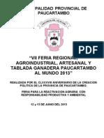 Reglamento Feria Paucartambo 2013