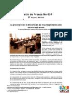 Boletín 034_ La prevención de la transmisión de virus respiratorios está en nuestras manos