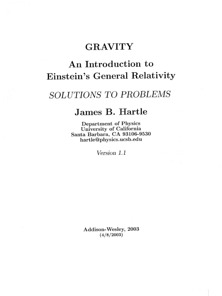 Hartle gravity homework solutions