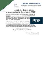 COMUNICADO Nº 097-ASUETO INVIERNO FUNCIONARIOS