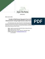 Aqua Vita Farms - Press Advisory - 6/28/13