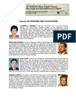 2nd ASEAN Rice Trade Forum 2013 Profile of Speakers