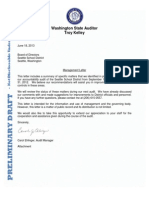 WA State Auditor Management letter, 6/18/13, to Seattle Schools regarding HR and salaries