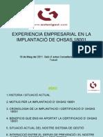 04 EXPERIENCIA EMPRESARIAL EN LA IMPLANTACIÓN DE OHSAS 18001 català