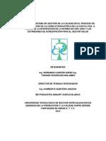 Diseño del sistema de gestión de la calidad en el proceso de hospitalización de la Clínica Psiquiátrica de la Costa Ltda. a través de la integración de la norma ISO 9001 2008