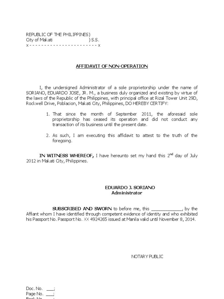Affidavit Of Non Operation