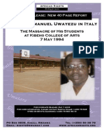 Father Emmanuel Uwayezu in Italy - The massacre of His Students at Kibeho- 7 May 1994 - African Rights -