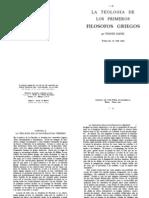 La Teologia de Los Primeros Filosofos Griegos