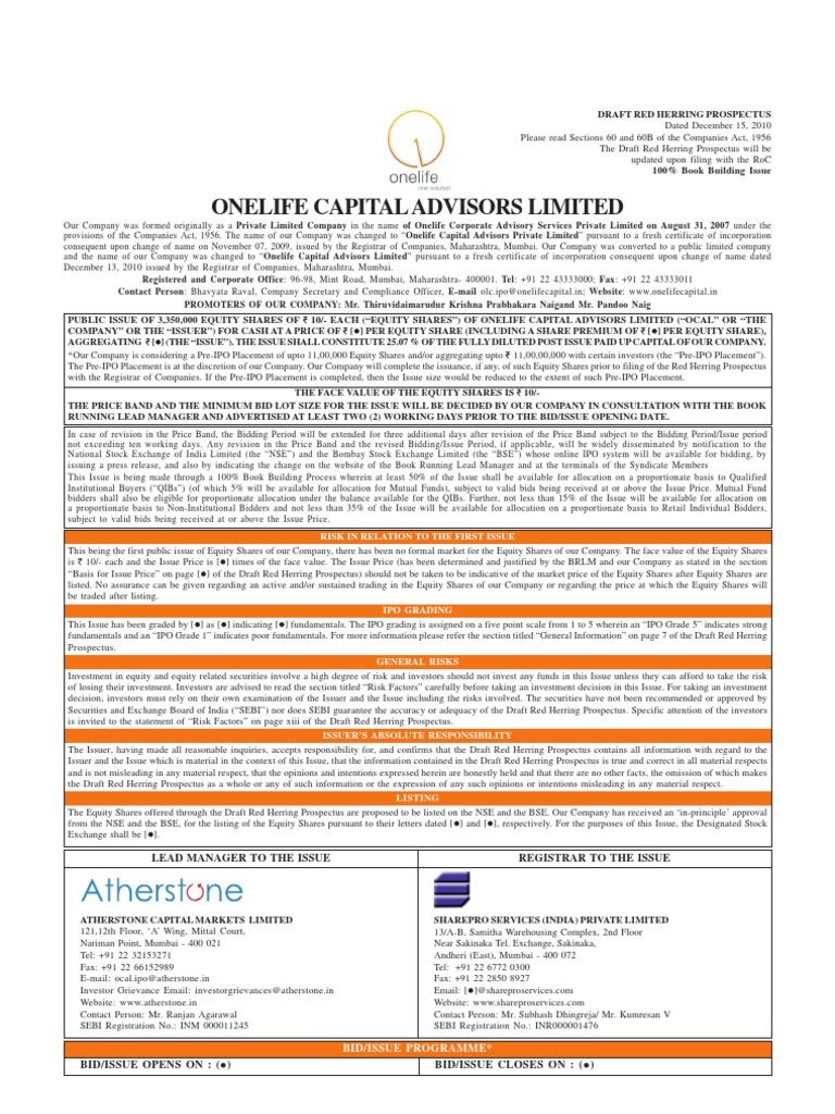 Onelife Capital Advisors Ltd  | Stocks | Securities (Finance)
