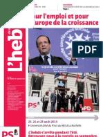 L'Hebdo des socialistes n°703 - Pour l'emploi et pour l'Europe de la croissance