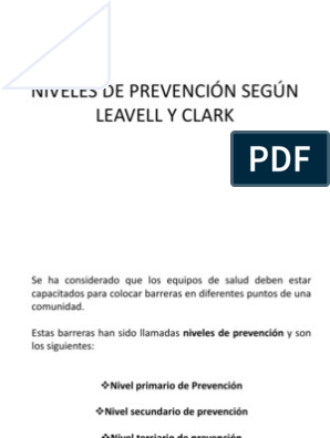 niveles de prevencion de leavell y clark diabetes