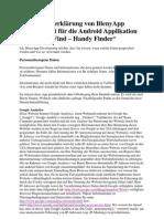 Datenchutzerklärung von BlenyApp Development für die Android Applikation