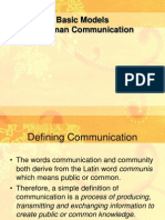 Basic Models of Human Communication