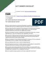 Scrum Product Owner Checklist