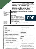 NBR 13293 - Cal Virgem E Cal Hidratada Para Tratamento de Agua de Abastecimento - Determinacao De