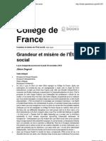 Collège de France - Grandeur et misère de l'État social