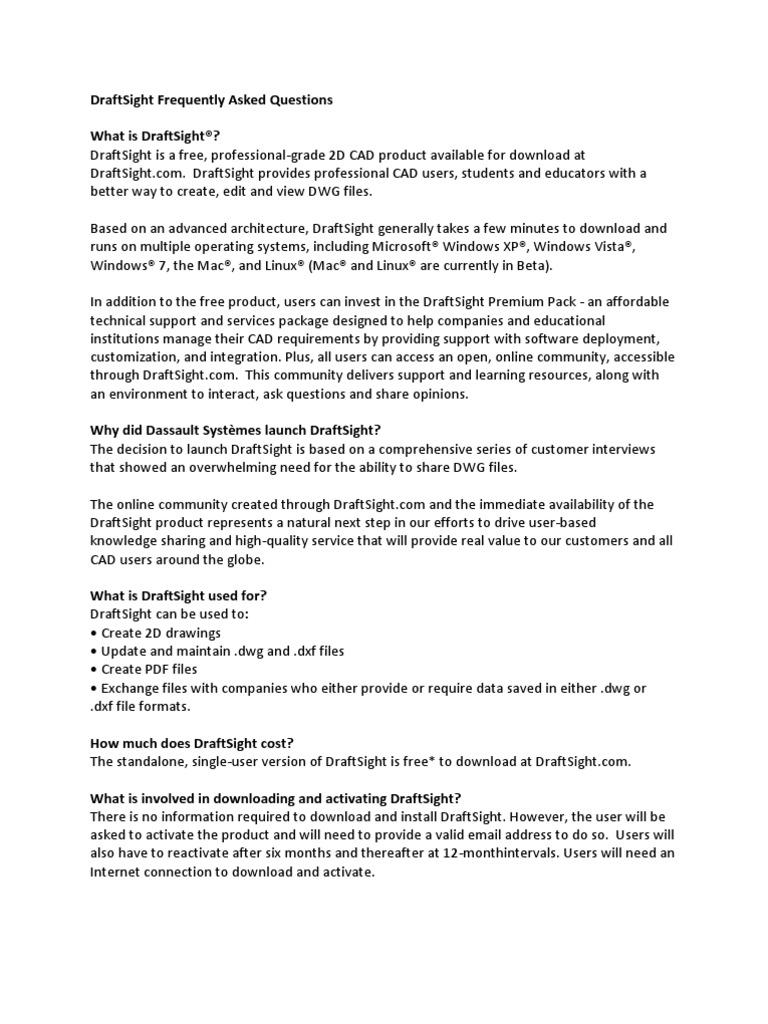 DraftSight-FAQ | Application Programming Interface | Microsoft Windows