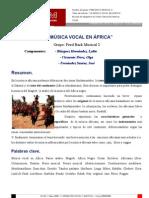 LA MÚSICA VOCAL EN ÁFRICA. Trabajo