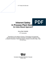 Inherent Safety in Process Plant Design