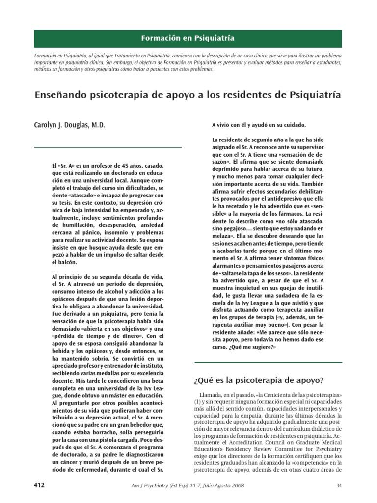 Enseñando psicoterapia de apoyo a residentes de psiquiatría
